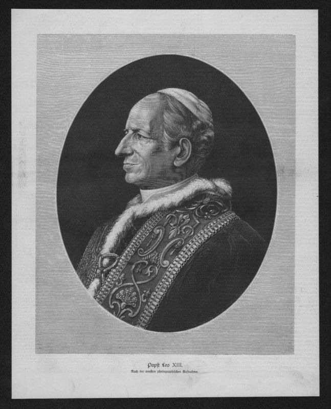 Papst Leo XIII Portrait Holzstich wood engraving