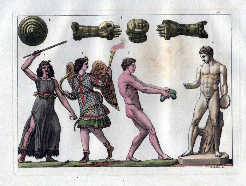 Griechen Greece Antike costumes Aquatinta