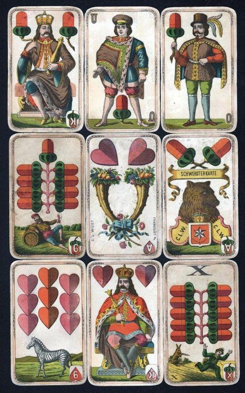 Spielkarten Sächsisches Bild Schwerterkarte Wüst Frankfurt 24/24 selten