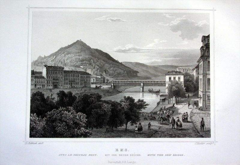 Bad Ems Neue Brücke Rheinland-Pfalz antique print engraving Stahlstich