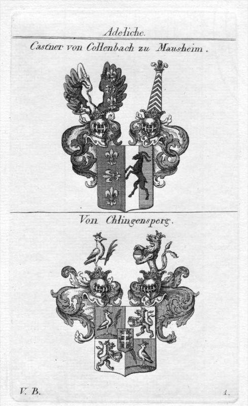 Castner Chlingensperg - Wappen Adel coat of arms heraldry Heraldik Kupferstich