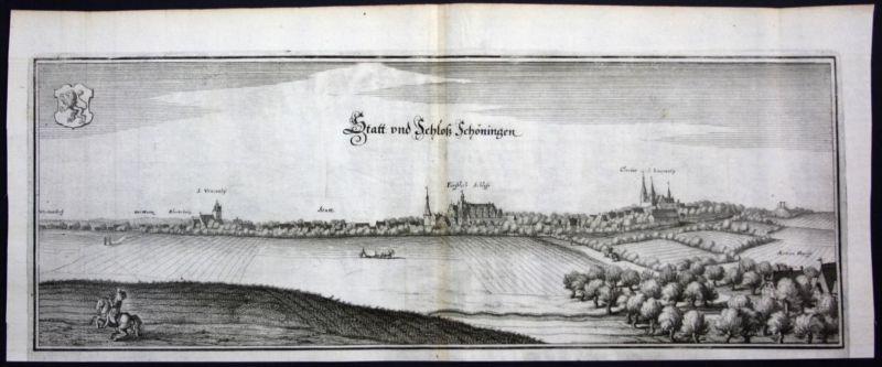 Schöningen - Gesamtansicht - Kupferstich Merian