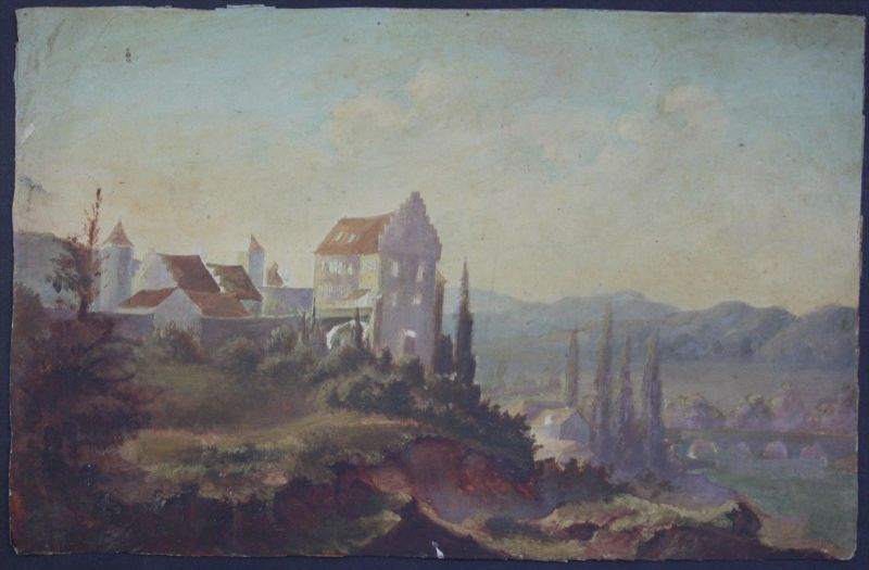 Burg Fluss Ölgemälde Gemälde 19. Jahrhundert painting castle 19th century