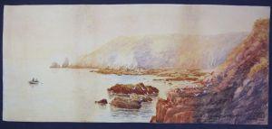 Guernsey - Moulin Huet Bay - Original Aquarell J.H. Skinner signiert signed 1899