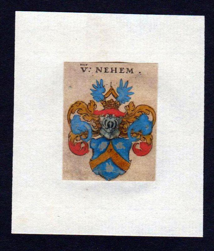 17. Jh von Nehem Wappen coat of arms heraldry Heraldik Kupferstich