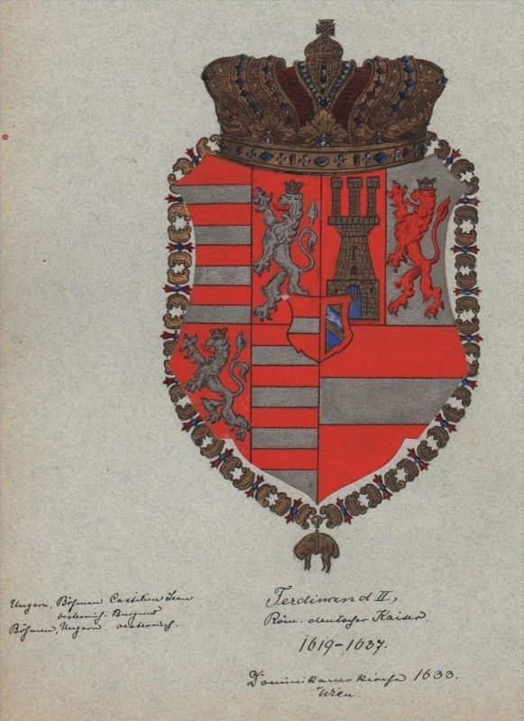 Kaiser Ferdinand II Wappen Genealogie genealogy Original Aquarell