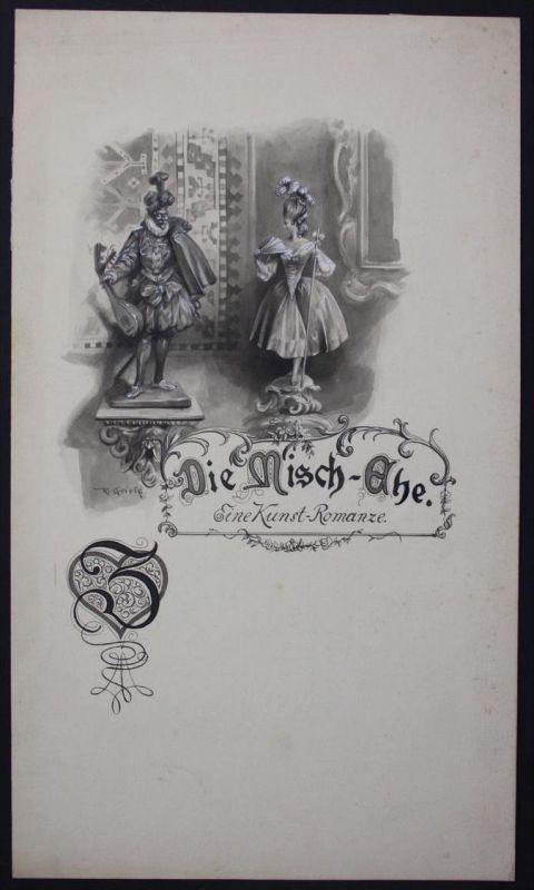 Rudolf Griess München Original Zeichnung signiert Mischehe Ehe signed