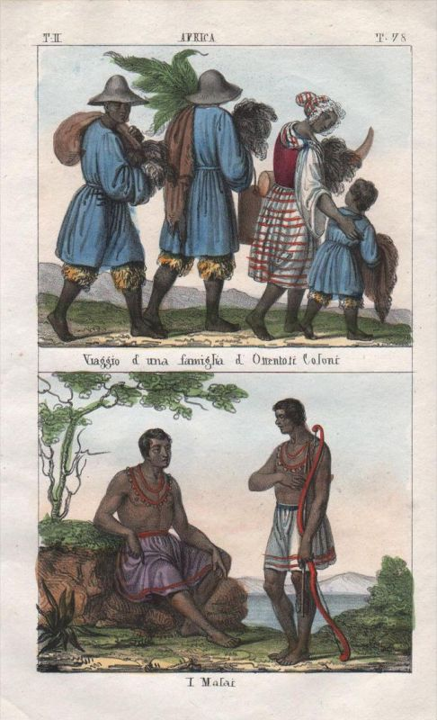 - South Africa Malawi people costume Lithograph Negro natives