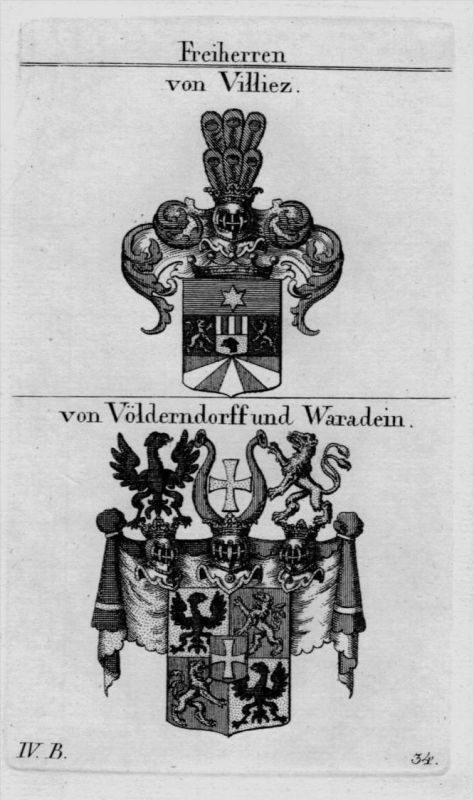Villiez Völderndorff Wappen Adel coat of arms heraldry Heraldik Kupferstich