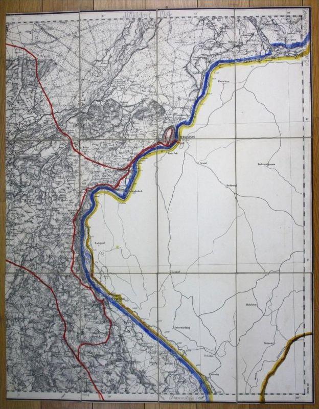 um 1880 Burghausen Tittmoning Haiming Halsbach Emmerting Bayern Karte