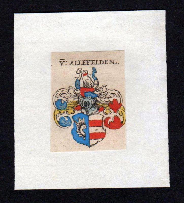17. Jh von Allefelden Wappen coat of arms heraldry Heraldik Kupferstich