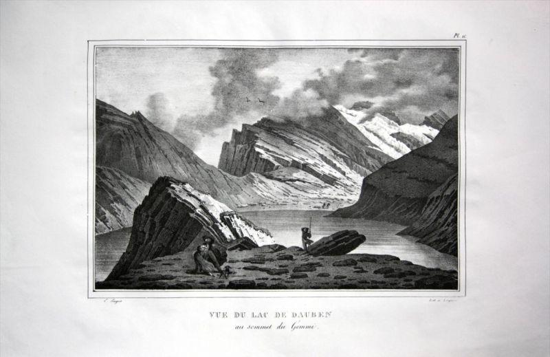 Vue du Lac de Dauben - Daubensee Gemmipass Leukerbad Berner Alpen - Schweiz Suisse Lithographie Pingret.