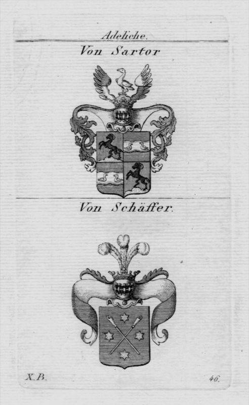 Sartor Schäffer Wappen Adel coat of arms heraldry Heraldik Kupferstich