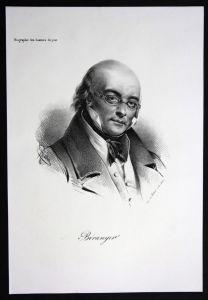 Pierre Jean de Beranger Lyriker Frankreich France Lithographie Portrait