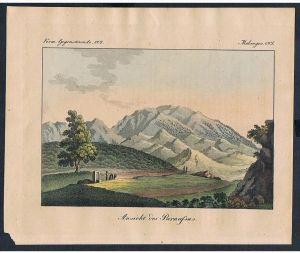Parnassus Griechenland Greece Ansicht view engraving Kupferstich Bertuch