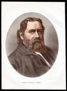 James Russell Lowell (1819-1891) Lyriker Essayist Herausgeber Hochschullehrer Diplomat - Lithographie Portrait