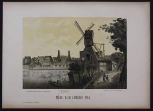 Hamburg Mühle Lombard Lombardsbrücke Lithographie