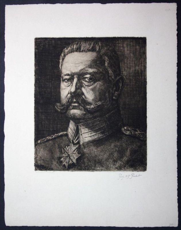Otto Ferdinand Probst München Breslau Radierung signiert Hindenburg