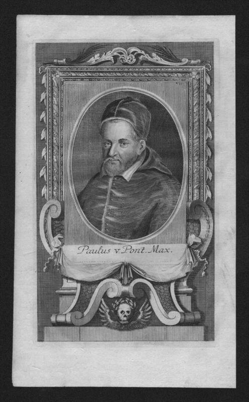 Paul V Camillo Borghese Papst pope papa engraving Kupferstich Portrait