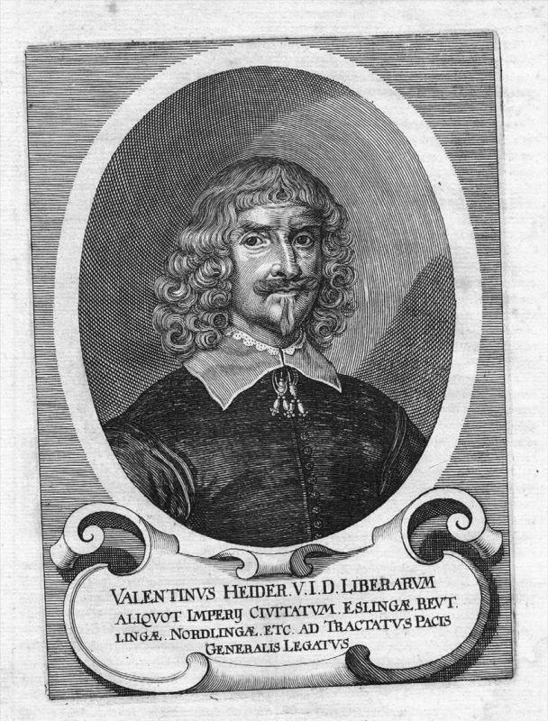 Valentin Heider Lindau Staatsmann Original Kupferstich Portrait