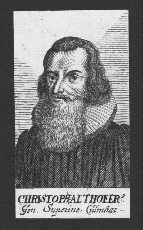 Christoph Althofer Theologe Altdorf Wittenberg Jena Kupferstich Portrait