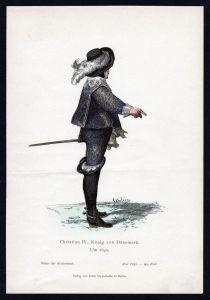 Christian IV König von Dänemark Trachten Tracht costume Original Graphik