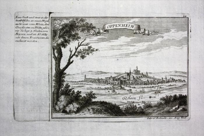Oppeneim / Rhein - Gesamtansicht - Kupferstich Bodenehr