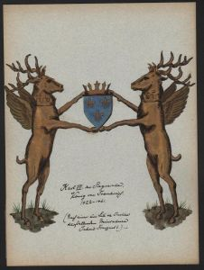 Karl VII König Siegreiche Wappen Genealogie genealogy Original Aquarell