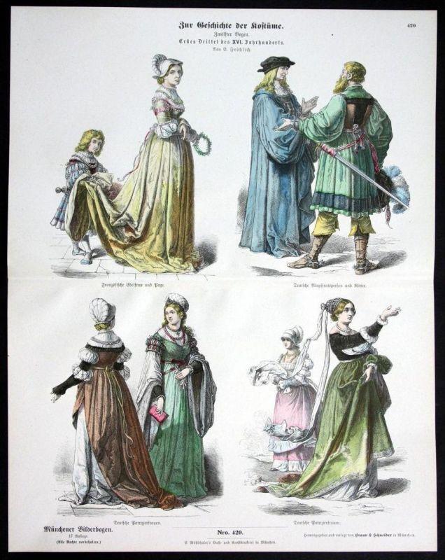 Deutschland Frankreich 16. Jh. Kostüme Tracht Münchener Bilderbogen