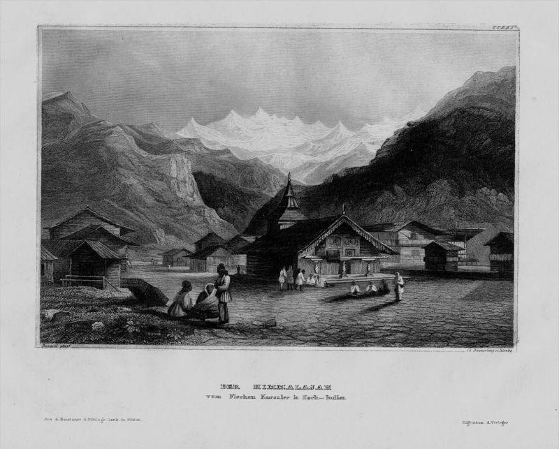 Himalaya Gebirge Berge Dorf Indien India Asien Asia engraving Stahlstich