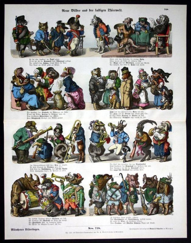 Lustige Tierweilt Tiere Karikatur Humor Münchener Bilderbogen