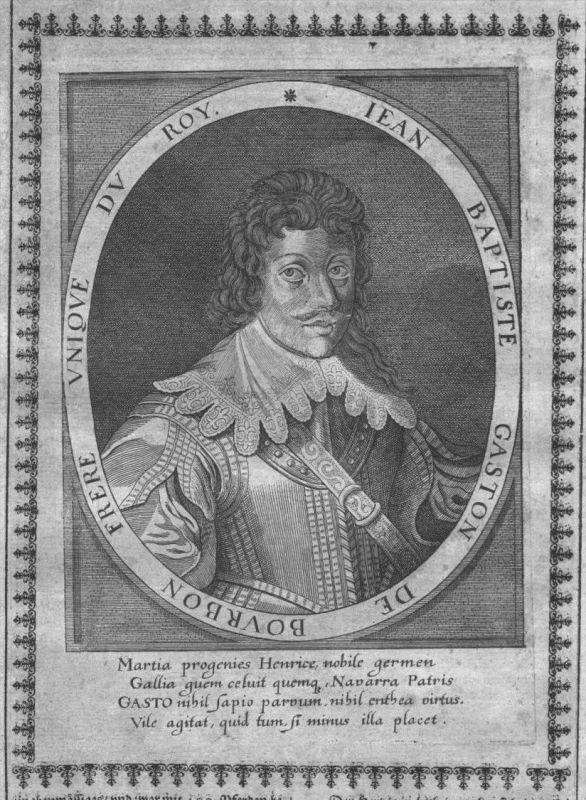 Gaston de Bourbon Duc d'Orleans Portrait Kupferstich engraving