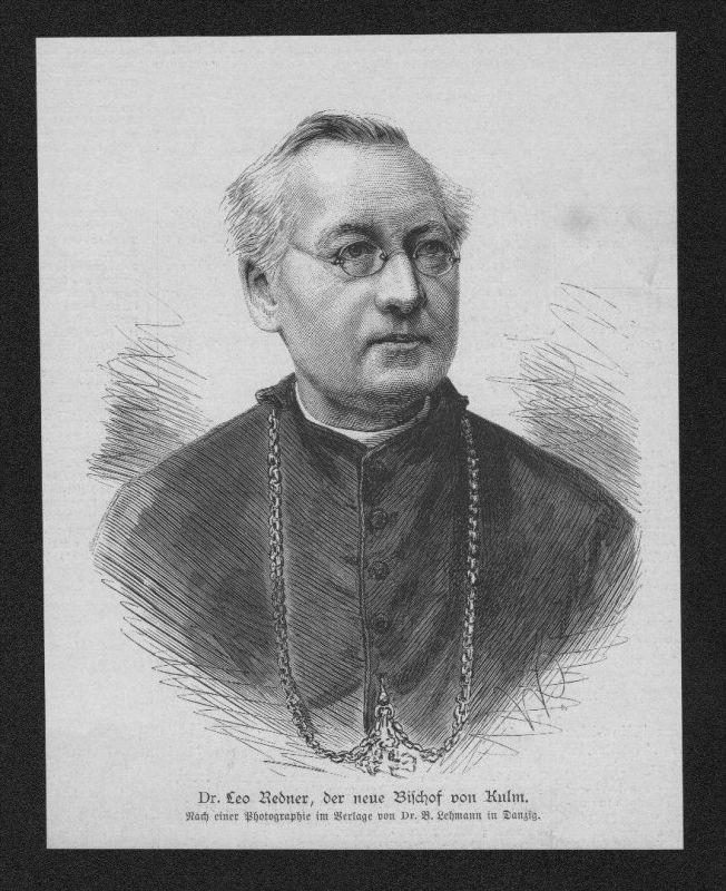 Dr. Leo Redner Bischof Kulm Portrait Holzstich wood engraving