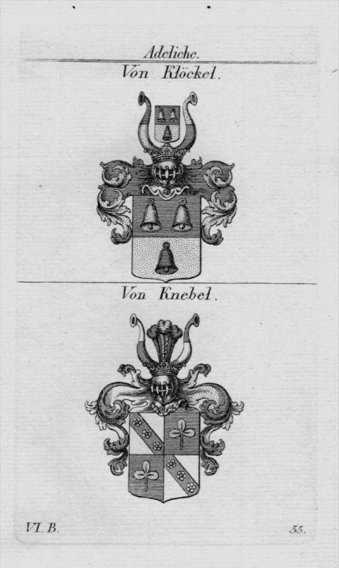 Klöckel Knebel Wappen Adel coat of arms heraldry Heraldik Kupferstich