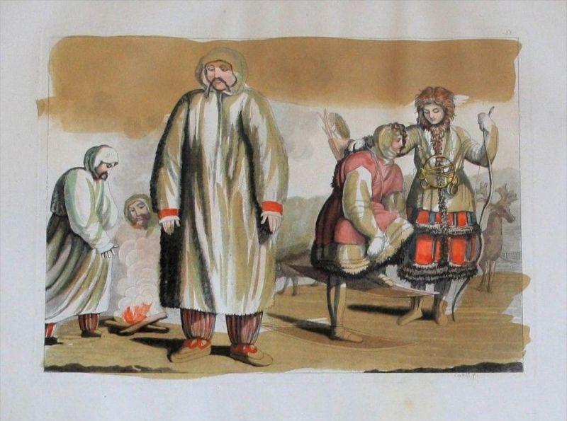 Siberia Sibirien Samojeden costumes Aquatinta aquatint antique print