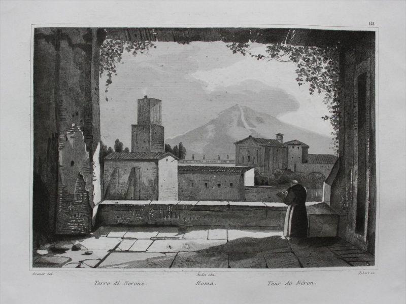 Roma Rom Rome Torre di Nerone Italy incisione acquaforte Stahlstich Audot