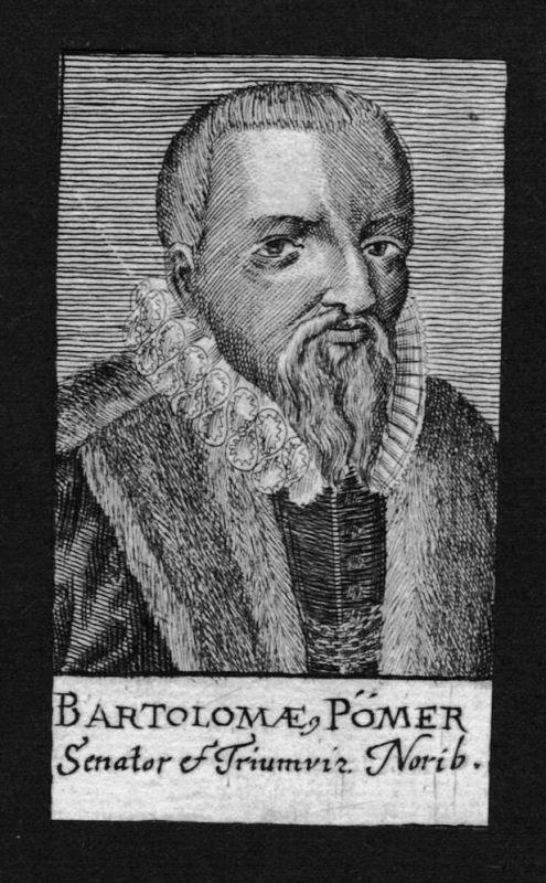 Bartholomäus Pömer Jurist lawyer Ratsherr Nürnberg Kupferstich Portrait
