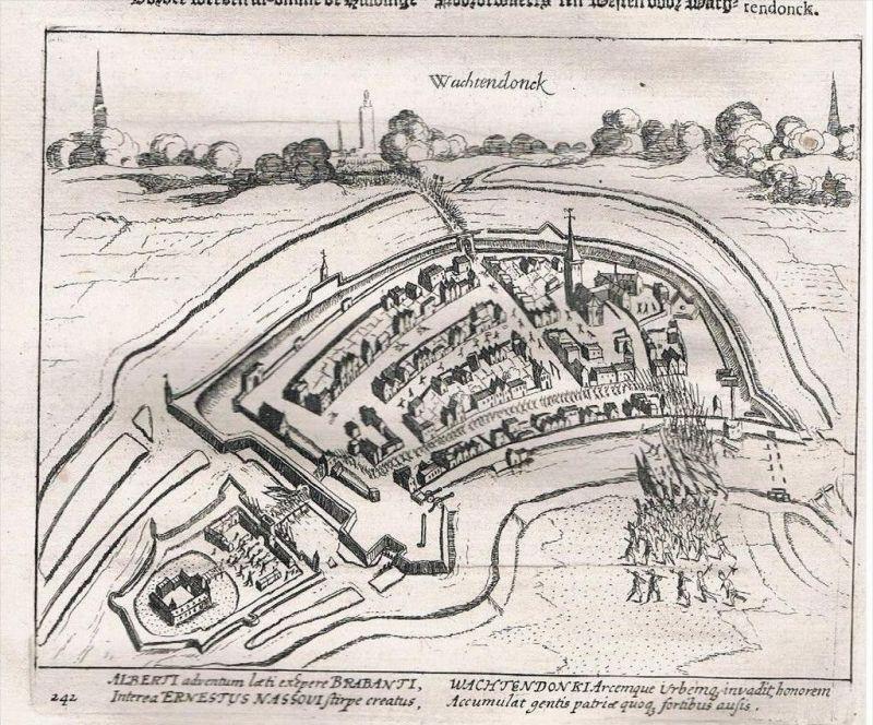 . Wachtendonk Rhein Schlacht Kupferstich engraving battle