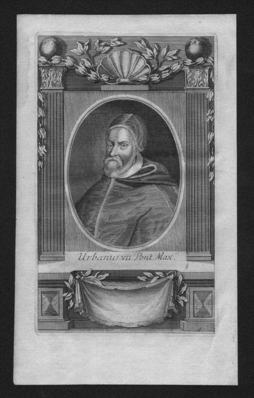 Urban VII Giambattista Castagna Papst pope papa Kupferstich Portrait