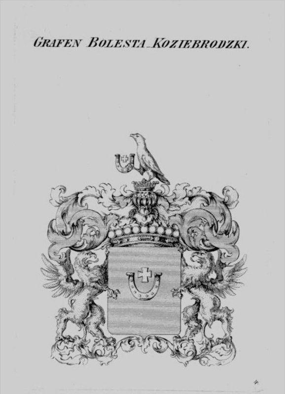 Bolesta Koziebrodzki Wappen Adel coat of arms heraldry Heraldik Kupferstich