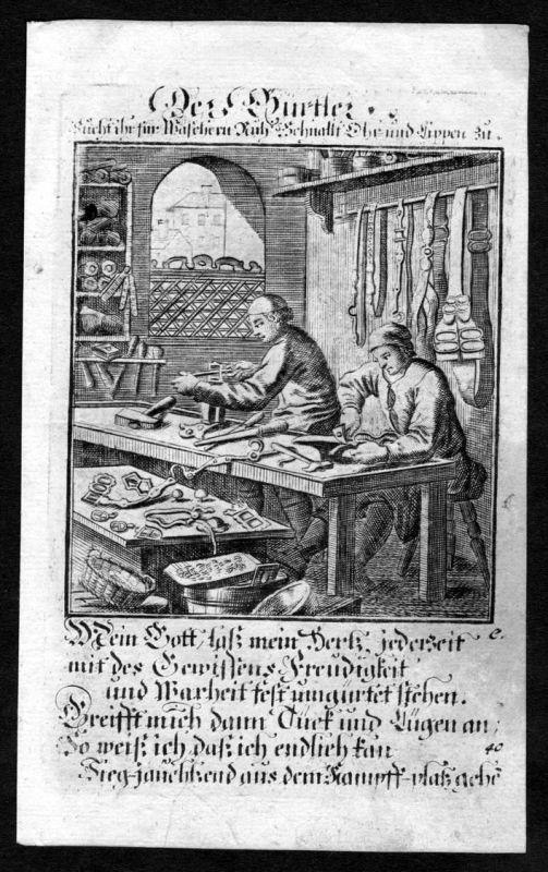 Gürtler Metallbildner Beruf profession Weigel Kupferstich antique print