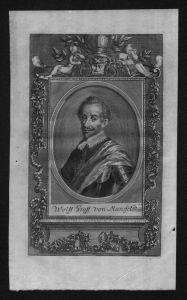 Wolfgang III Graf von Mansfeld gravure engraving Kupferstich Portrait