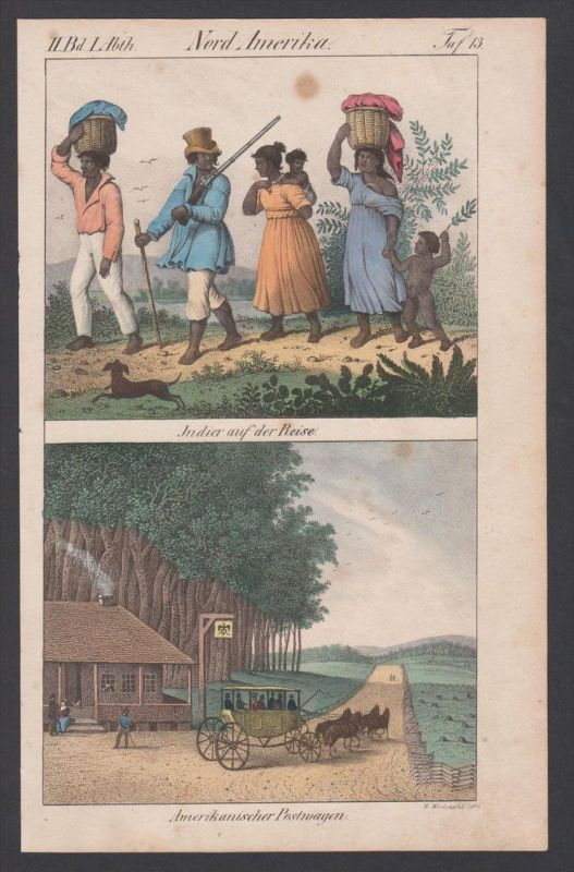 Amerika Nordamerika America Trachten costumes Lithographie lithograph