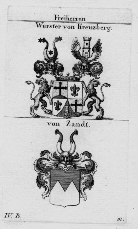 Wurster Zandt Wappen Adel coat of arms heraldry Heraldik crest Kupferstich