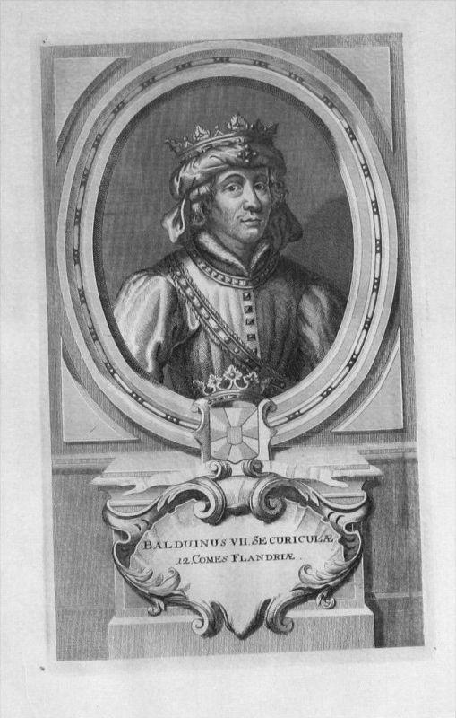 Balduin VII. von Flandern Flandre Portrait gravure engraving Kupferstich