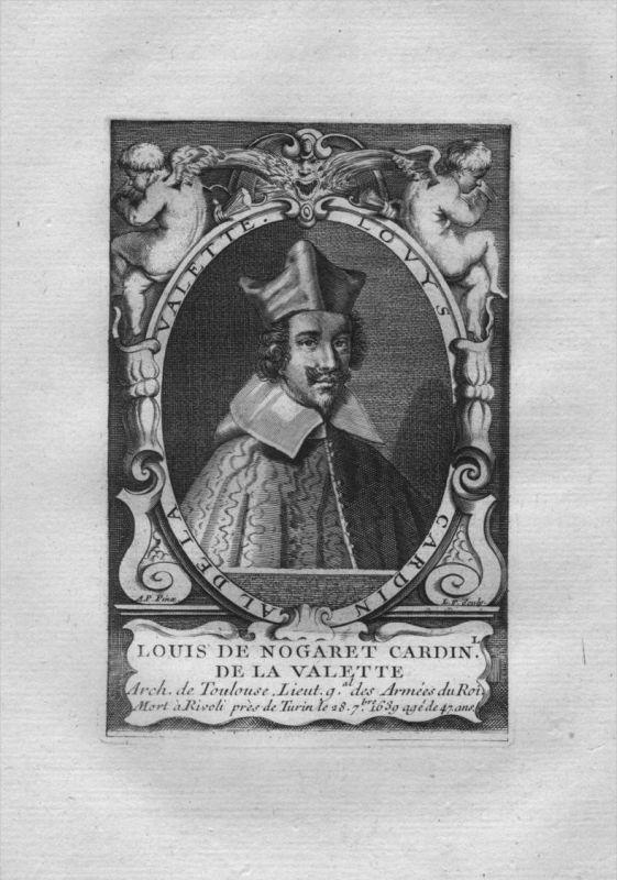 Louis de Nogaret de La Valette  Kardinal Frankreich Kuperstich Portrait