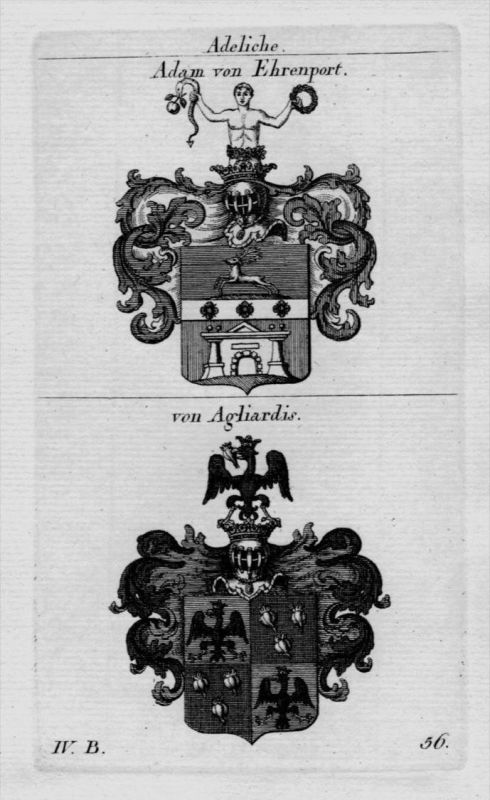 Adam Agliardis Wappen Adel coat of arms heraldry Heraldik crest Kupferstich