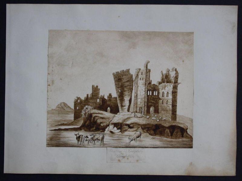 - Caerphilly Castle Watercolor Wales Aquarell drawing Biedermeier