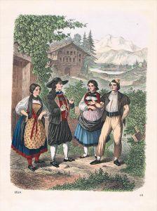 Schweiz Trachten Tracht Suisse Lithographie lithograph