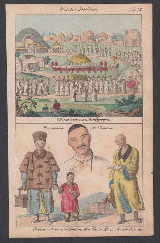 Indien India China Mönch Trachten costumes Lithographie lithograph